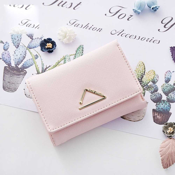 Ladies Hand Small Card Package Cross Pattern Metal Hardware 3 Folder Multi-Card Position Wallet Bag