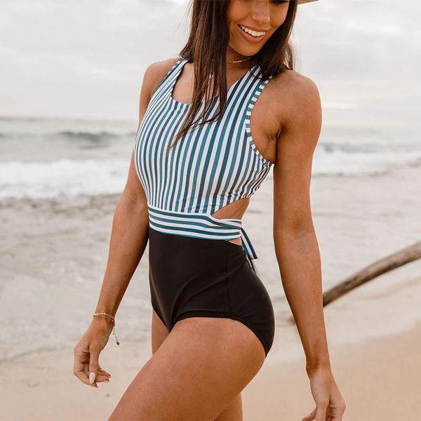 One Piece Backless Maiô Cintura Alta Flor Stripe Imprimir Swimwear Biquíni Verão Beach Wear Maiô Moda Roupas Femininas 220226