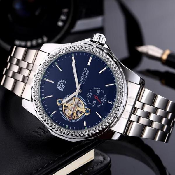 Men tourbillon hollow automatic mechanical watch men's watch waterproof men's mechanical full brake watch stainless steel watchband pin buck