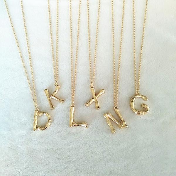 Küçük Altın Dövme Metal Bambu 26 Mektuplar Alfabe A-Z Minimalist İlk Kolye Kolye Moda Büküm Zincir Boyun Takı
