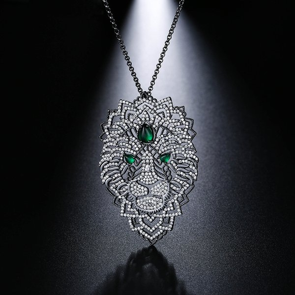Umgodly New Arrival Luxury Cubic Zirconia Black Dark Gray Necklaces Leaves Black Color Lion Pendant Women Fashion Jewelry J190530