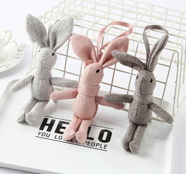 Super Sweet Multi- Candy Colors - Stuffed Baby Plush Toy , Middle 18CM Rabbit Doll ; Delicate DIY wedding bouquet plush toys