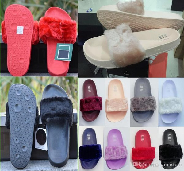 Leadcat Fenty Rihanna Faux Fur Slippers Women Girls Sandals Fashion Scuffs Black Pink Red Grey Blue Slides High Quality With Box