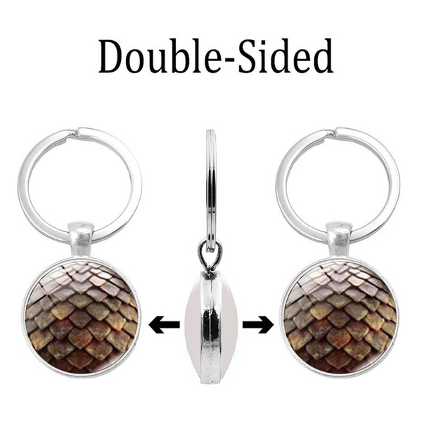 Simple and fashionable new accessories Beautiful double-sided glass dome pendant keychain Double-sided key chain small gifts wholesale