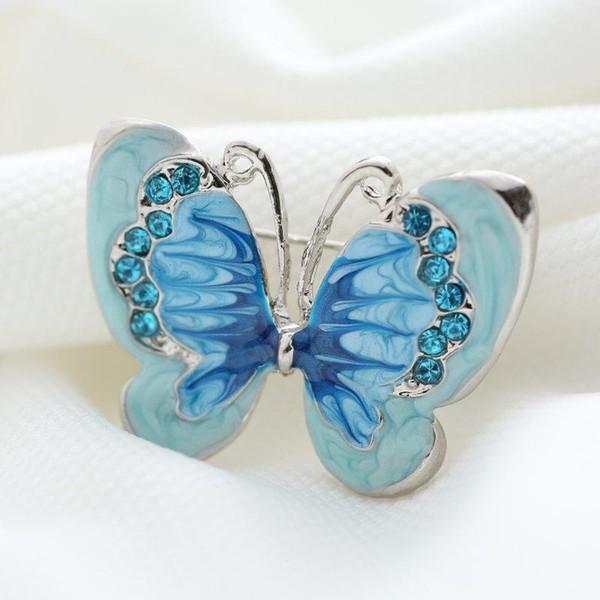 Atacado-Bonito bule Borboleta Pequenos Insetos Broche Pinos Banhado A Prata Broches De Cristal Mulheres Decoração Jóias Roupas Acessórios