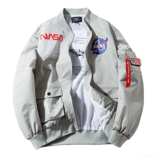 2019 Otoño Hombres Chaquetas de diseñador Nuevo piloto de vuelo de la NASA Abrigo informal Chaqueta de bombardero MA1 Carta Cazadora impresa Ropa de abrigo