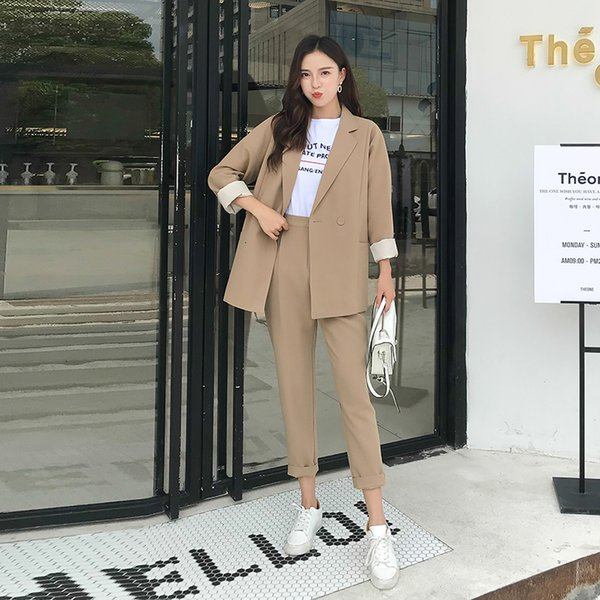 2019 autumn temperament fashion Professional set women pant suits Office Lady long sleeve blazer with pants work wear Sets