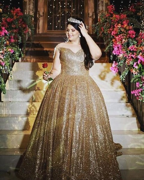 2019 Masquerade Ball Gown Quinceanera Dresses Off The Shoulder Gold  Sequined Floor Length Plus Size Custom Made Prom Sweet 16 Dress Quinceanera  ...