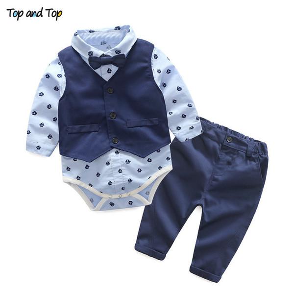 Yenidoğan bebek erkek düğün giysileri setleri toddler moda pamuk yelek + tulum + pantolon bebe boys için 3 adet kıyafetler bebek doğum günü kıyafetler
