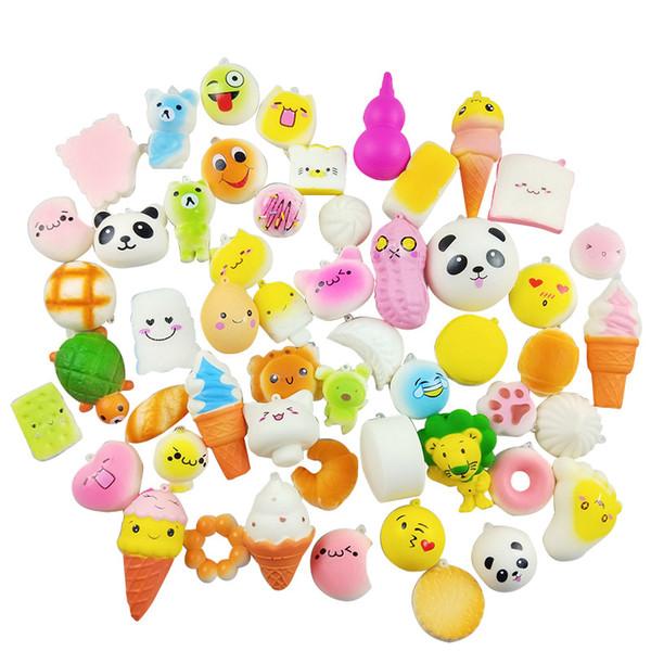 Venda quente 20 pçs / lote Squishy PU Pão Rosquinha Sorvete Kawaii Squeeze Dos Desenhos Animados Mini Squishies Descompressão Brinquedo Para Presentes Do Partido da Criança