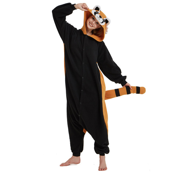 Yetişkinler Için Polar Polar Hayvan Rakun Kigurumi Pijama Kadın Onesie Kış Pijama Erkek Gece Takım Elbise Cadılar Bayramı Nightie Cosplay