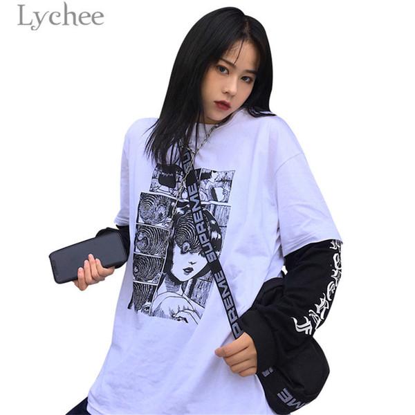 Lychee Trendy Comic Fake 2 Pieces Women T-shirt Head Print Long Sleeve O-neck Female T Shirt Casual Loose Tee Top Q190518