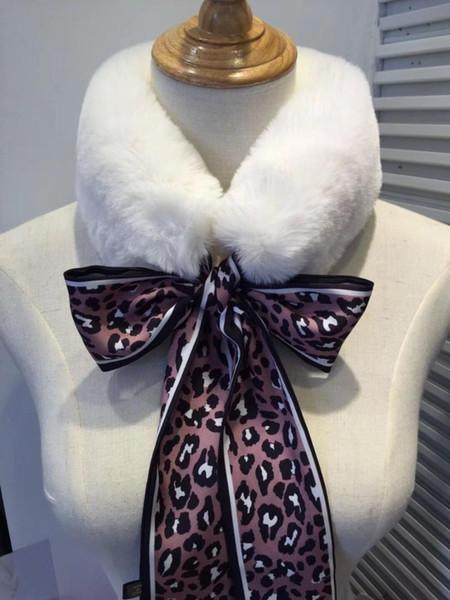 leopard-print plush neckband woolen collar scarf imitation hair ribbon bow tie woolen collar scarf for women