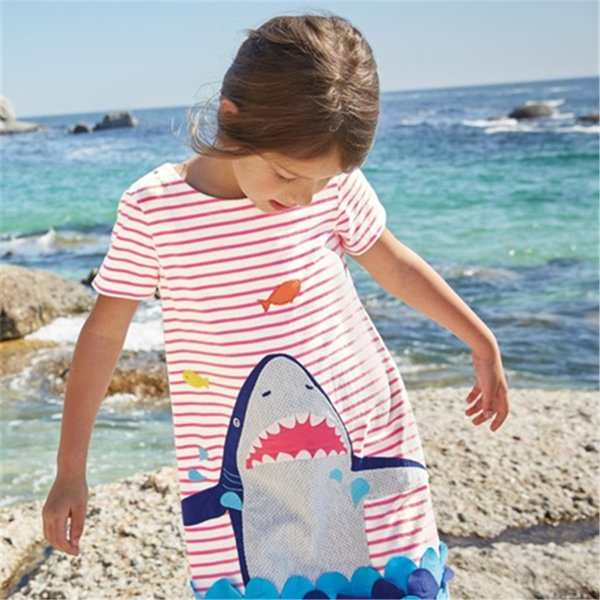 Fashion Wholesale Girls Dresses Striped Contrasted Colors Baby Girls Dress INS Animal Cartton Wholesale Girls Spring Clothes Floral Dresses