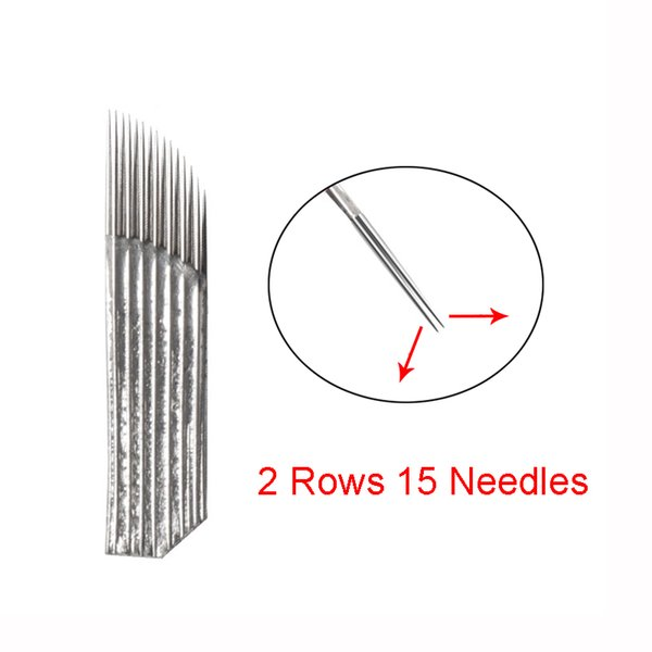 Microblading Needles 15 pin 2 Rows Permanent Makeup Tatoo Blade For 3D Eyebrow Embroidery Manual Tattoo Pen Machine