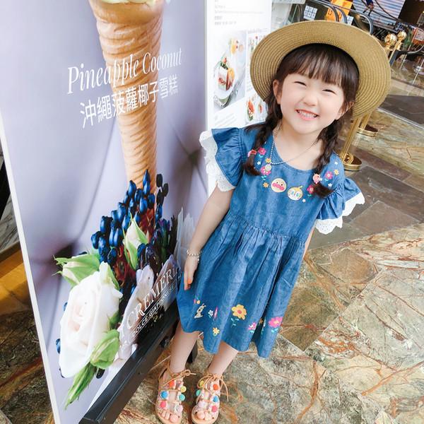 Compre Los Niños Vestidos De Mezclilla Niñas De Dibujos Animados Animado Floral Impreso Suave Vestido De Vaquero Niños Encaje Falbala Falda De La