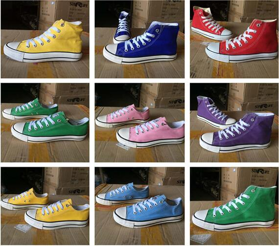 New Unisex Low-Top& High-Top Adult Women's Men's Canvas Shoes 15 colors Laced Up Casual Shoes Sneaker shoes Size 35-46 K1230