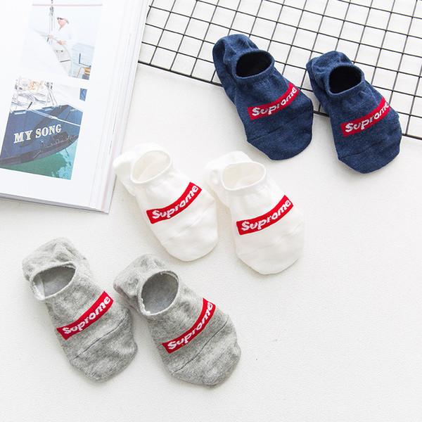 Calcetines de diseñador para mujer para hombre Fabricantes Primavera y verano Hombre delgado casual Algodón invisible Silicona antideslizante No se caiga con los calcetines
