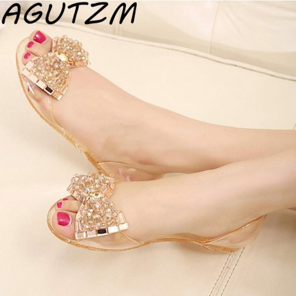 AGUTZM Women Sandals Summer Style Bling Bowtie Jelly Shoes Woman Casual Peep Toe Sandal Crystal Flat Shoes Size 35-40