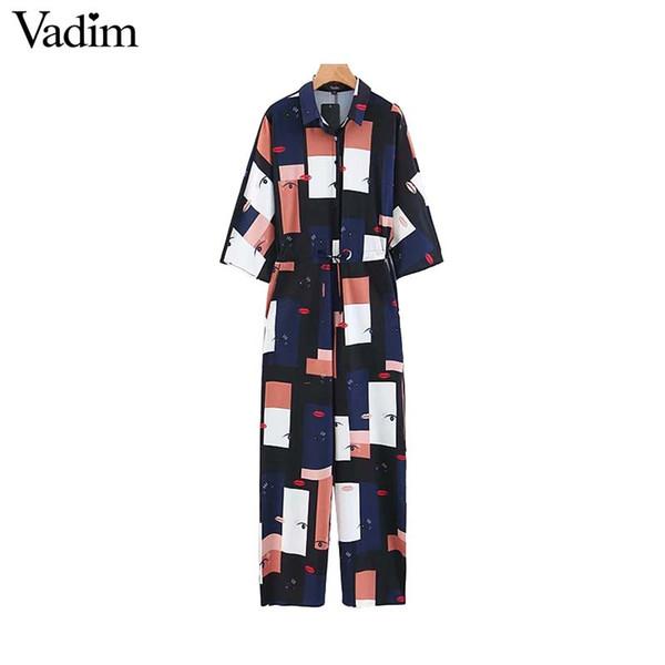 Vadim chic geometric pattern jumpsuits three quarter sleeve drawstring tie waist pockets rompers calf length playsuits KA573