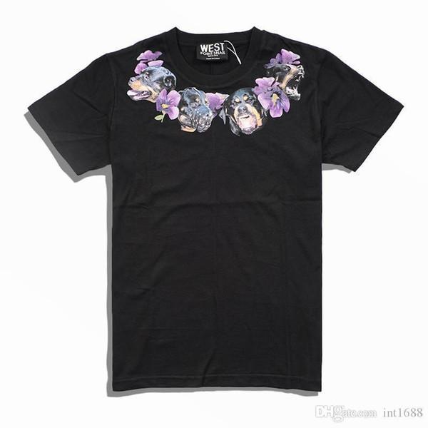 2018 новинка бренд высокого класса мужчины свободного покроя декольте собака ожерелье фиолетовые цветы печать футболки мужчины хлопок шею с коротким рукавом футболки