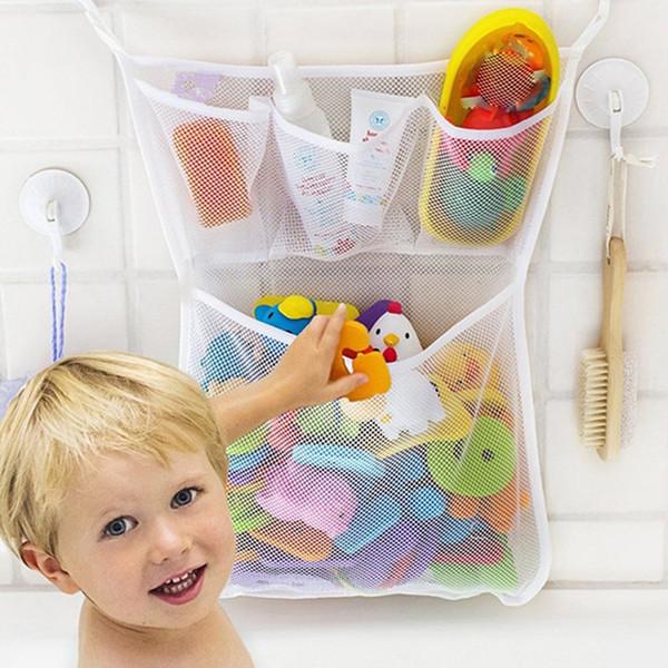 Malla de juguetes de baño Organizador de almacenamiento de baño bolso colgante para el cabrito Baño del bebé de juguete 45x35cm colgar de la pared ventosa bolsa de red de contenedores