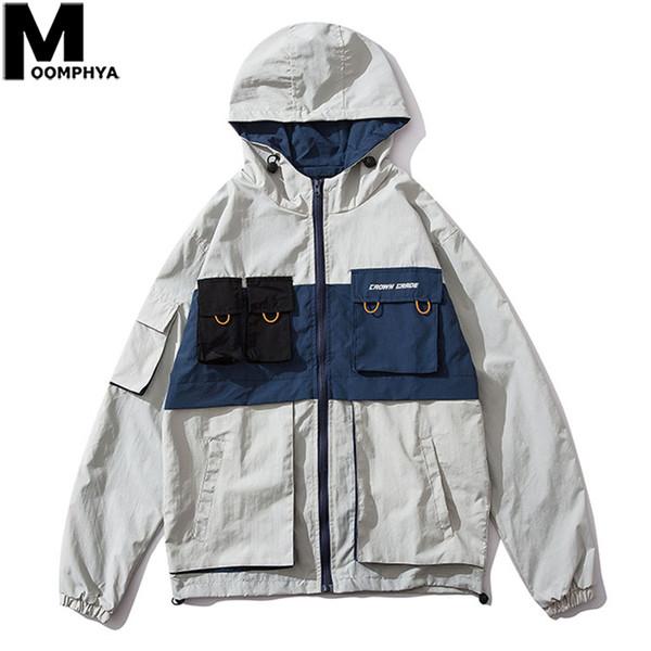 Moomphya мульти карманы сращивание рабочая одежда стиль куртка мужчины уличная с капюшоном ветровка пальто мужчины 2019 осень мужская куртка с капюшоном