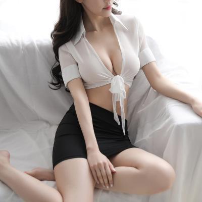 Ropa interior atractiva de las mujeres pijama uniforme de la ropa interior de la tentación erótica Mujeres profundo cuello en V camisa de la tapa con vestidos cortos de pijama atractivo R1263