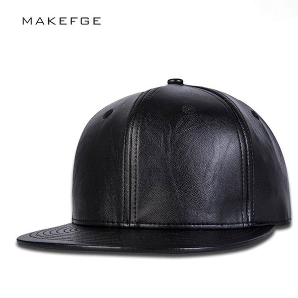 Fashion Brand Baseball Cap Leather snapback hip hop Caps Black Solid Hip-hop Gorro Chapeau Snap Back Hats For Men dad hat
