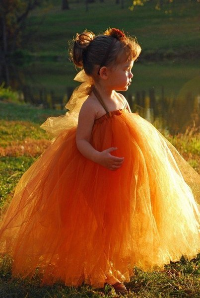 White/Ivory Orange Tutu Tulle Little Girl Dress Kids Clothing Flower Girl Dress Available in Many Color Combinations For Formal Occasion