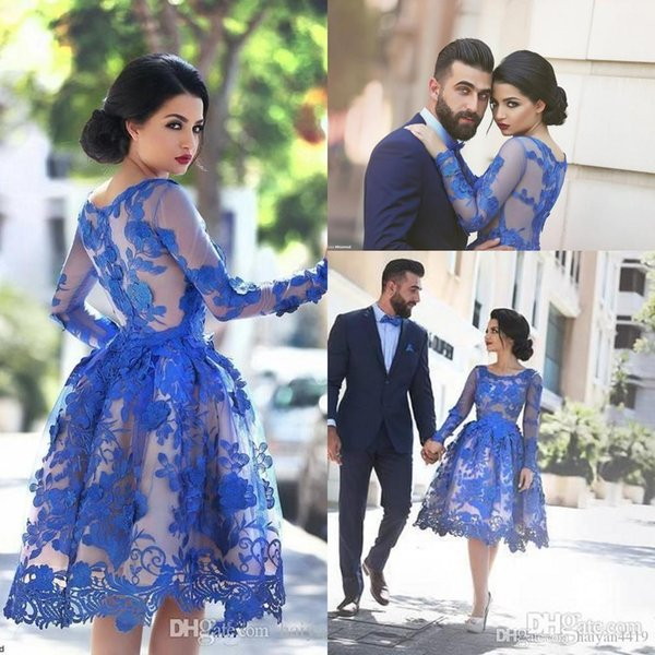 Cheap Arabic Short Prom Dresses Jewel Neck Long Sleeves Lace Appliques 3D Floral Knee Length Royal Blue Party Dress Homecoming Gowns