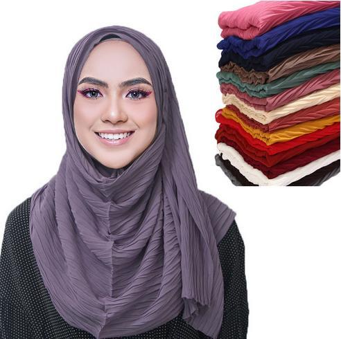 Nouveau plissés femmes rides foulard Hijab de mousseline de bulles châles CRINKLE enveloppements musulmans Turban Pleat châles longues écharpes wrap 180 * 85cm