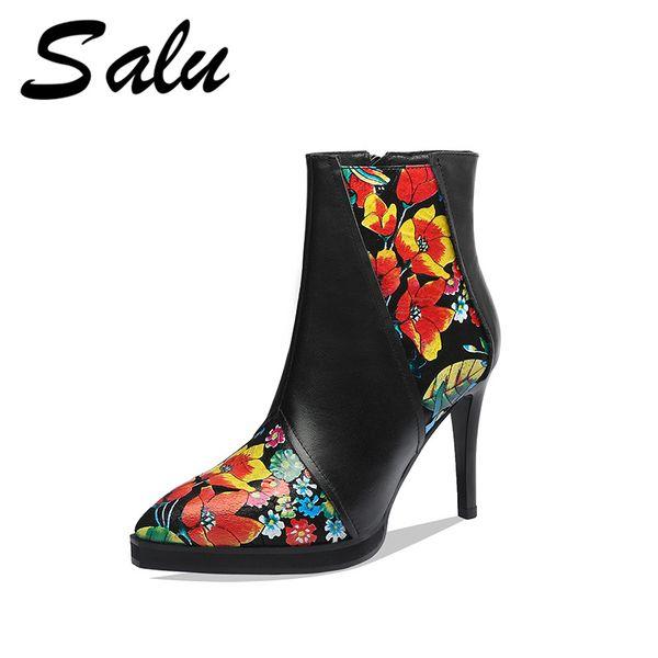 Salu Moda Çizmeler Kadın Ayak Bileği Çizmeler Sonbahar Kış Sıcak Hakiki Deri Yüksek Topuklu Ayakkabı Parti Dans Ayakkabıları Kadın