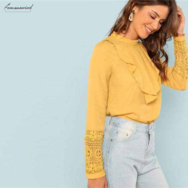 Yellow Blusen Volant Arbeitskleidung eleganter Ansatz Spitze Stulpe-Knopf Langarmbluse Herbst Minimalist Frauen Tops und