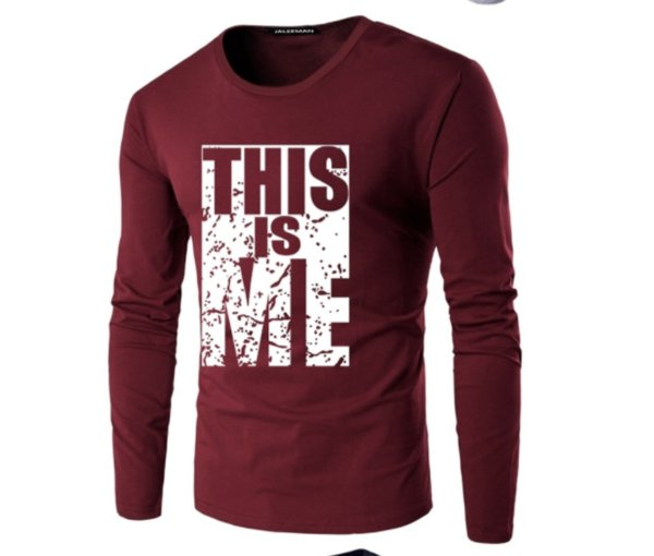 T-shirt dos homens 2019 Chegada Nova Outono Plus Size Tshirt Moda Casual Em Torno Do Pescoço Dos Homens de Manga Comprida T-shirt Tamanho M-5XL