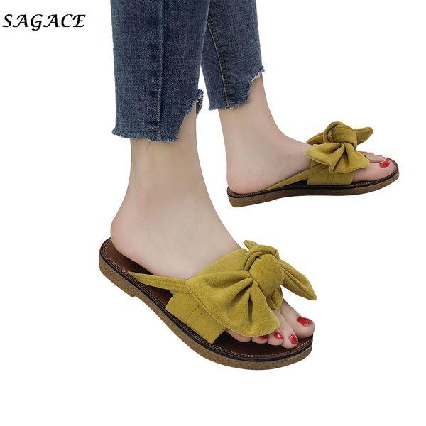 wholesale Summer Hot Sale Women Flip Flops Fashion Solid Color Bow tie Female Flat Heel Sandals Size 36-40 Slipper Beach