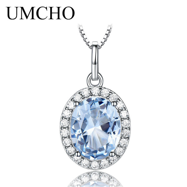 Umcho Sky Blue Topaz Gemstone Pendants Necklaces For Women 925 Sterling Sliver Oval Romantic Wedding Gift Valentine's Jewelry J190706