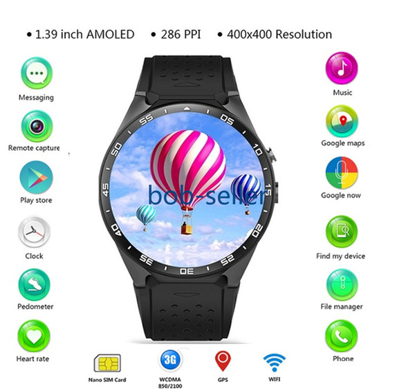 """Original KW88 Electronics 3G WCDMA WIFI 1.39"""" Smartwatch Cell Phone All-in-One Heart Rate Monitor android 5.1 OS Smart watches"""
