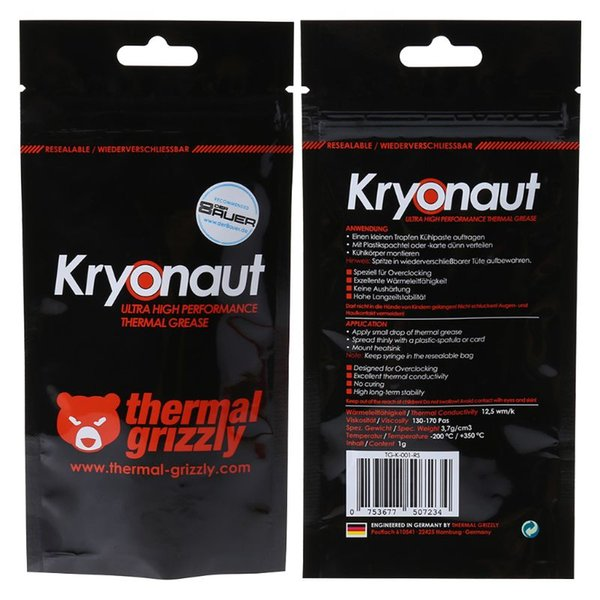 Thermal Grizzly Kryonaut 1g for CPU AMD Intel Processor Heatsink Fan Compound Cooling Thermal Paste Cooler Grease X6HA