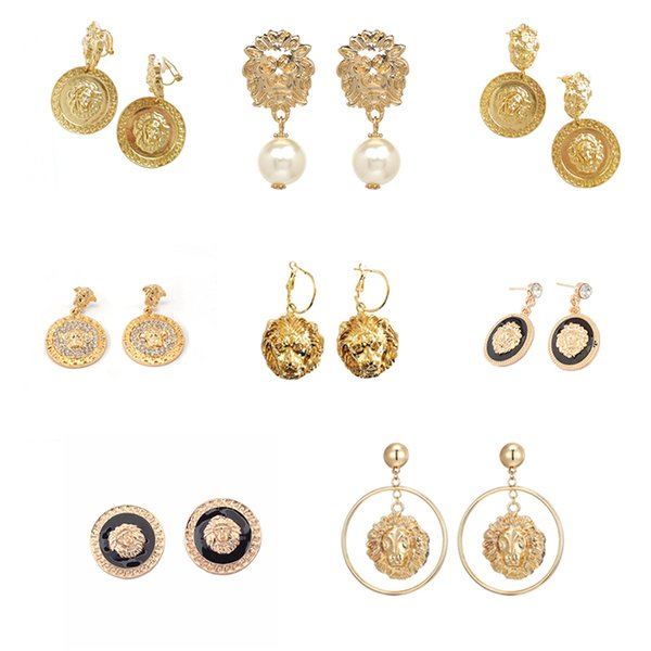 2019 Vintage Baroque Earrings for Women Statement Round Gold Lion Head Dangle Earring Metal Earing Hanging Baroque India Jewelry
