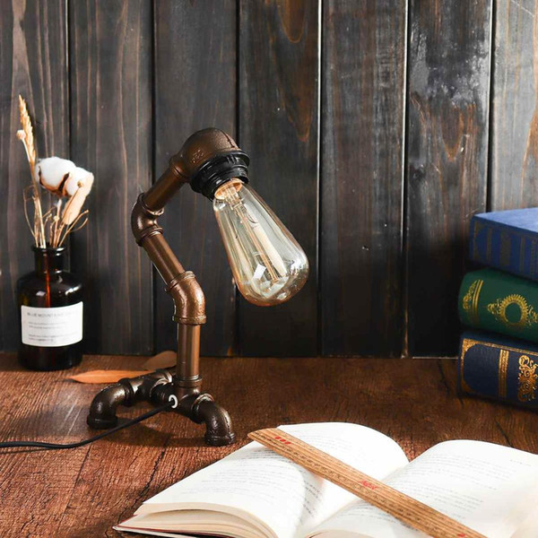 Industrial Water Pipe Table Lamp Light Vintage Steampunk Table Desk Lamp Lantern Home Decoration Indoor Lighting Fixture