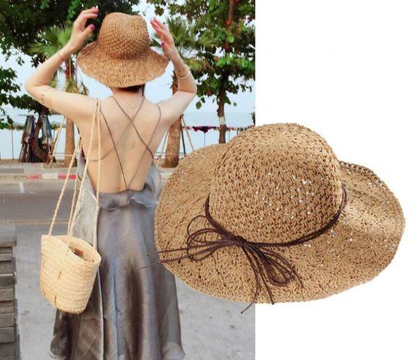 Hawaii Strohhut Hawaii Sommer Strand Hut Frauen Strohhüte Beige Bowknot Up Sonnenhut Weibliche Patchwork Casual Elegante Eimer Caps