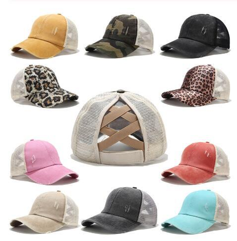 best selling Hole Ponytail Baseball Hat Washed Cotton Baseball Cap Summer Breathable Mesh Running Hat Beach Snapback Party Hats 30pcs OOA8095