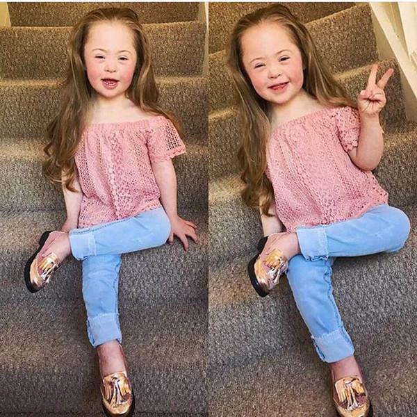 INS sweet girls suits children designer clothes girls outfits lace blouse+Jeans 2pcs kids designer clothes girls clothes baby suits A7656