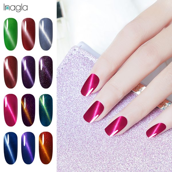 Inagla 10ml 3D Magnet Fixed-Line Cat Eye Gel Polish 58 Colors Nail Art Lucky Top Base Coat Long Lasting UV LED Lacquers