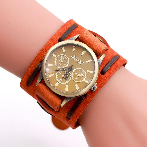 Fashion wide belt woven bronze retro watch three eye studs men's watch