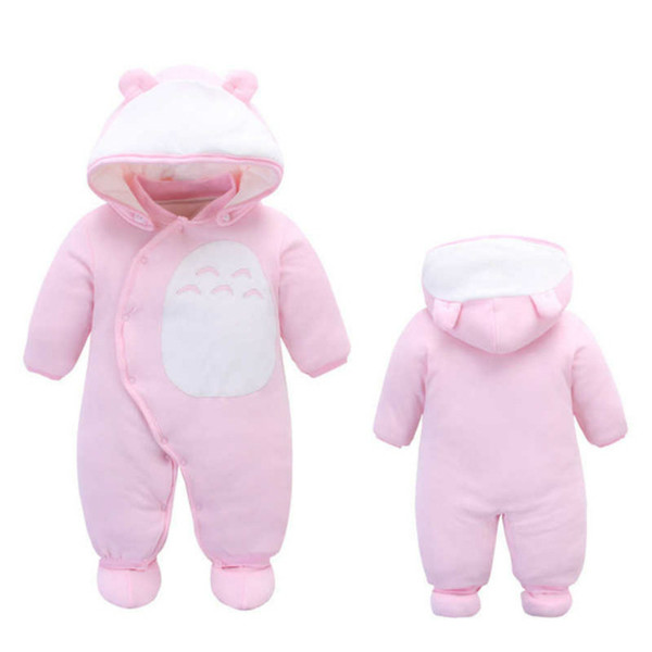 Baby Romper Cotton One-Piece Thick Warm Cotton Hooded Baby Boy Clothes Autumn Winter Clothes Animal Style Cartoon Totoro