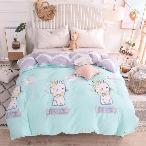 Cartoon kitten blue pink twin full queen king size cotton duvet cover comforter cover bedding bedroom quilt Home Textiles