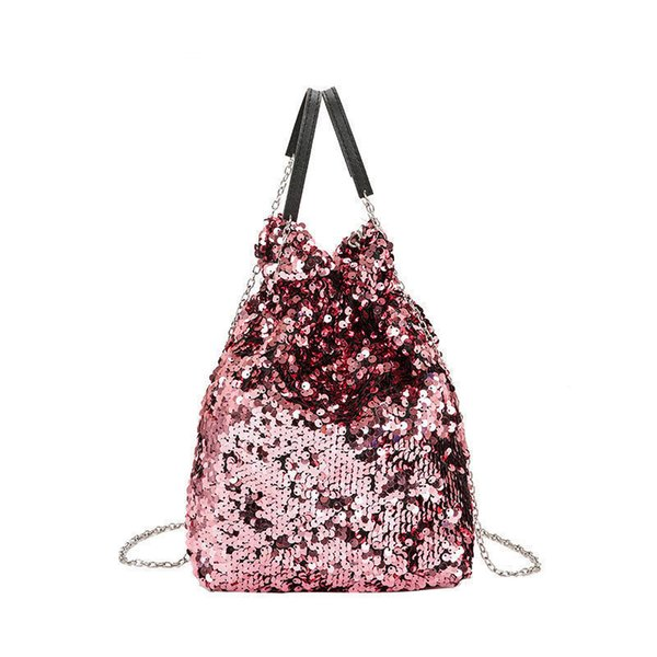 good quality 2019 New Shine Sequined Handbags Design Small Bucket Shoulder Bag Female Leather Women Mini Crossbody Bag With Chain