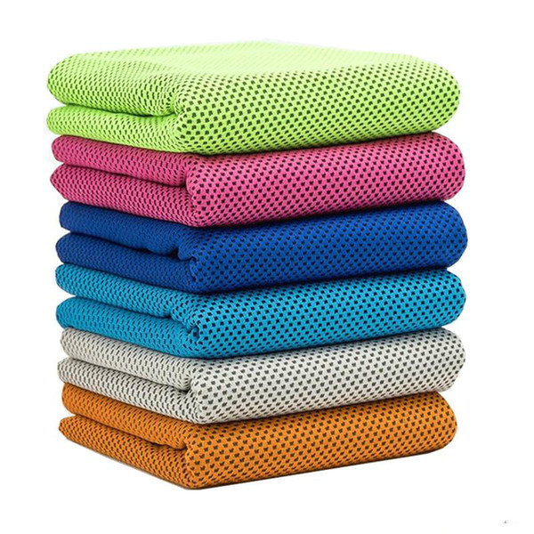 10 Colors Ice Cold Towel Double Layers Polyster Cloth Cool Sport Cooling Towels Fabric Print Cotton Towel Beach Towels Swimwear